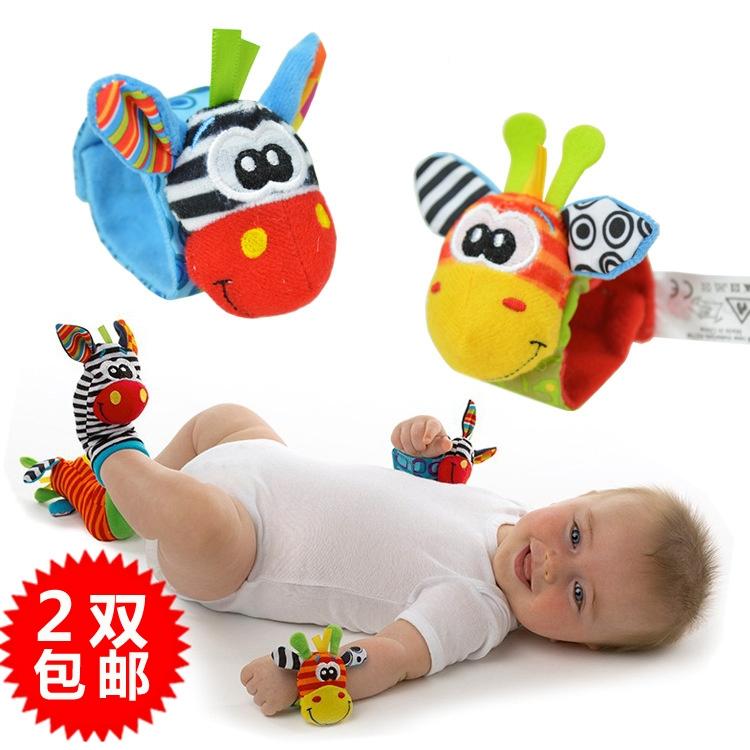 宝宝手腕带响铃手铃新生婴儿动物袜套脚上铃铛0-3-6个月玩具01岁