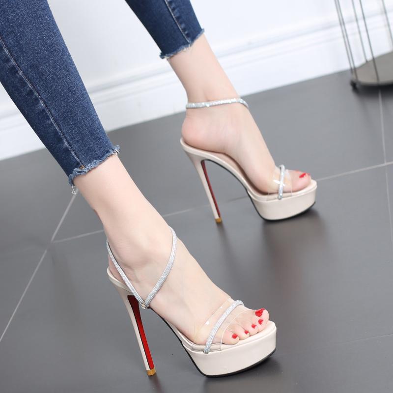 凉鞋女2020新款夏季水钻高跟鞋女细跟防水台超高跟12CM欧美风女鞋图片