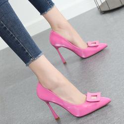 2020春季新款时尚百搭高跟鞋女细跟法式少女粉红色尖头黑色单鞋
