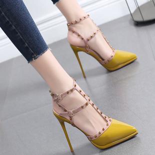 包头凉鞋女2021新款罗马一字扣带高跟鞋女细跟仙女风夏季百搭女鞋