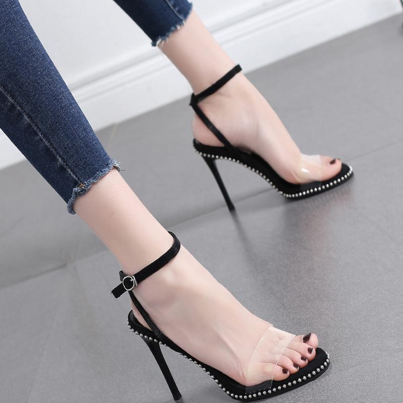 凉鞋2021新款百搭法式少女高跟鞋女细跟一字扣带9CM铆钉网红女鞋