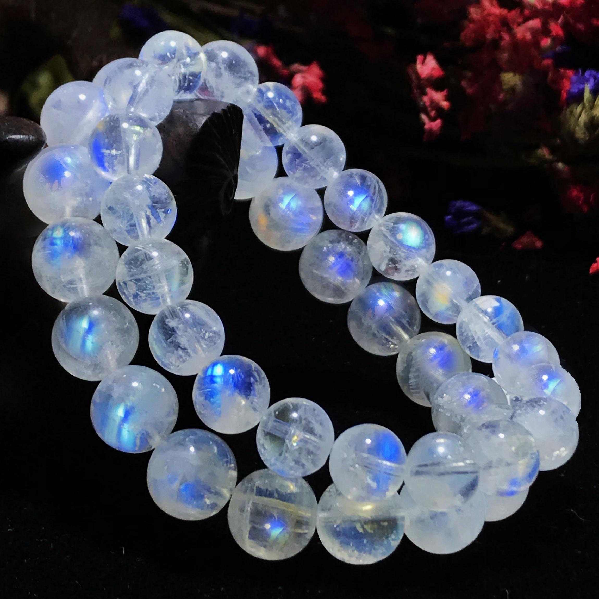 收藏级斯里兰卡天然蓝月光石手链女单圈玻璃体冰种彩蓝光水晶手串
