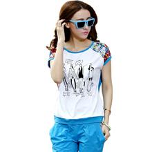 230#韩版运动休闲套装女款夏装 运动套装 时尚短袖印花套装女夏潮