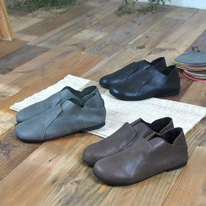 手工真皮女鞋春秋复古新款圆头平底单鞋两穿森系文艺范浅口妈妈鞋