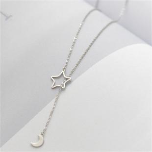 小張的故事簡約S925純銀時尚毛衣鏈長款配飾鏤空星星月亮項鍊吊墜