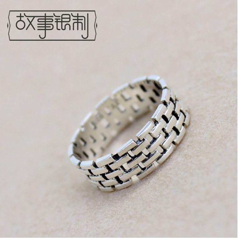 故事银制简约设计s925纯银复古指环限时2件3折