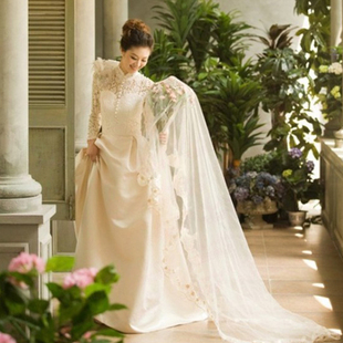 2015 new autumn and winter wedding dress word shoulder long sleeved thick princess bride Qi Korean pregnant women warm