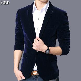 男装 金丝绒单西青年小西装 修身 上衣商务休闲外套韩版 西服男士 秋季
