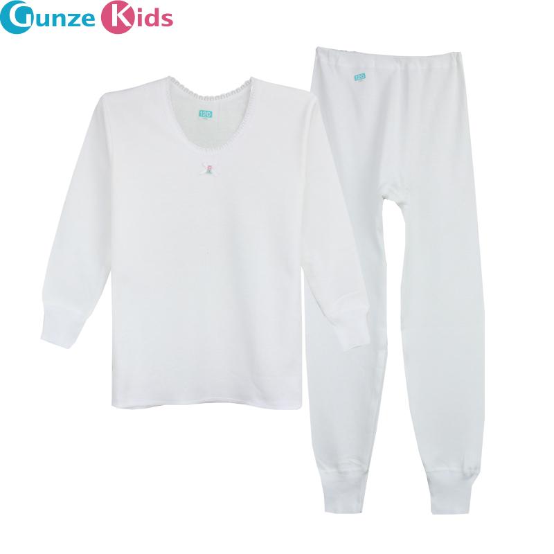 郡是Gunze 兒童內衣 棉女童圓領長袖秋衣套裝 BG4400