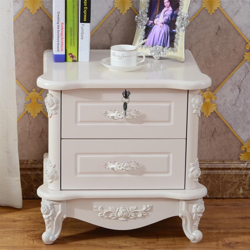 歐式床頭柜白色簡約現代臥室烤漆象牙白床邊柜儲物柜床頭收納柜