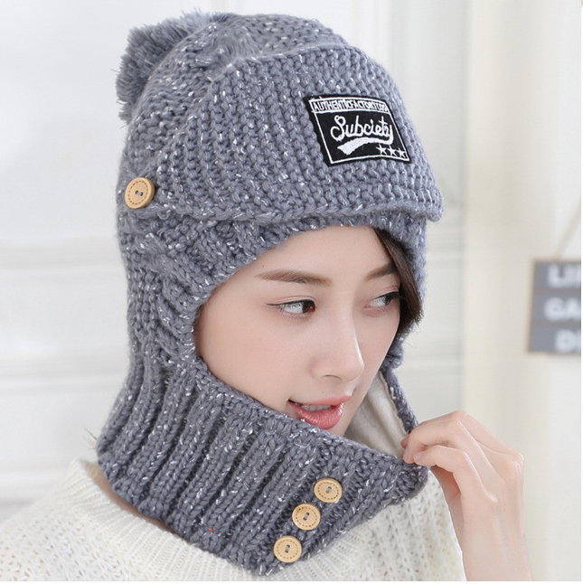 Winter new plush hat female WINTER CYCLING knitting wool ear cap thickened two piece face protection neck cold protection