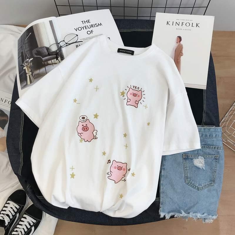 10月18日最新优惠粉色短袖女装2019新款网红纯棉t恤