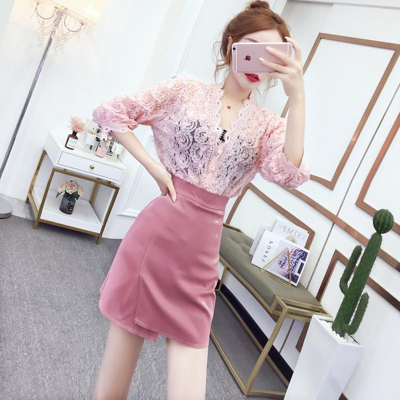 初秋新款套装裙小个子显高时尚蕾丝小香风裙子性感气质皮裙两件套券后119.00元