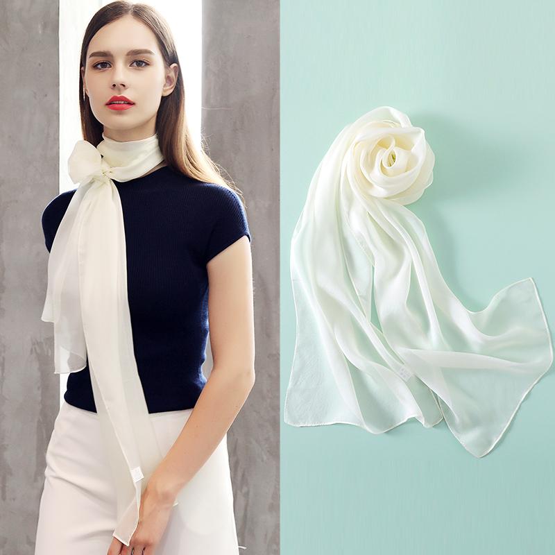 12月02日最新优惠夏季纯白色小长条桑蚕丝百搭丝巾