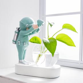 治愈系办公室电脑桌面创意水培植物小摆件男孩女生北欧房间装饰品