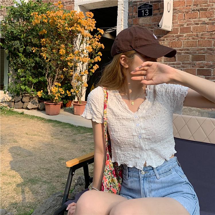 Real price thin body design womens minority pleated V-neck Pink Short Sleeve Top cardigan short T-shirt