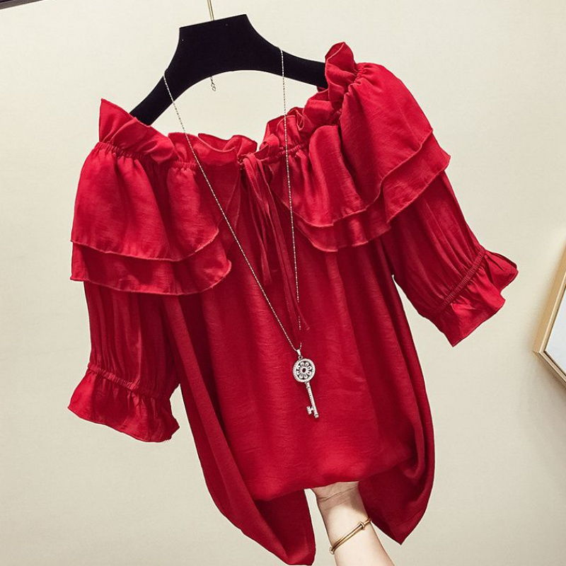 Red one line collar top women 2020 new spring and summer Korean flounced off shoulder chiffon short sleeve baby shirt fashion