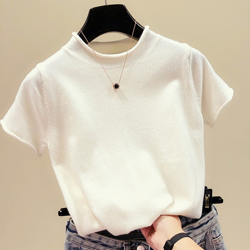 New versatile half high neck short sleeve T-shirt womens Pullover slim sweater bottoming top