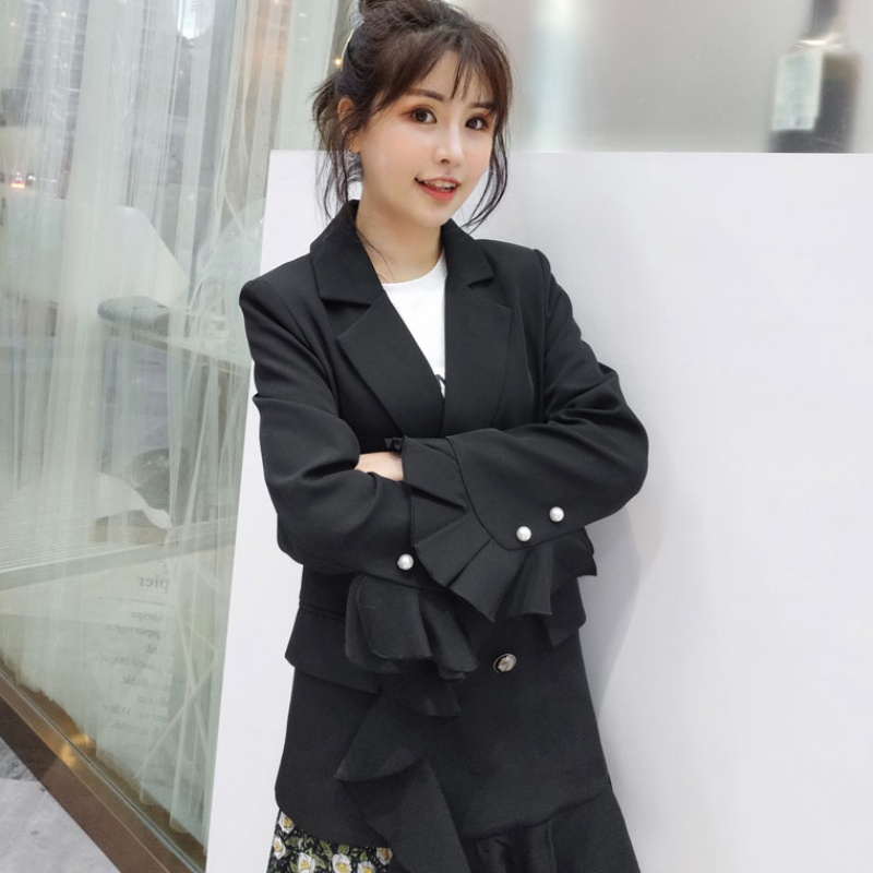 Spring 2020 new Korean straight tube Blazer womens double breasted white womens suit fashion trend