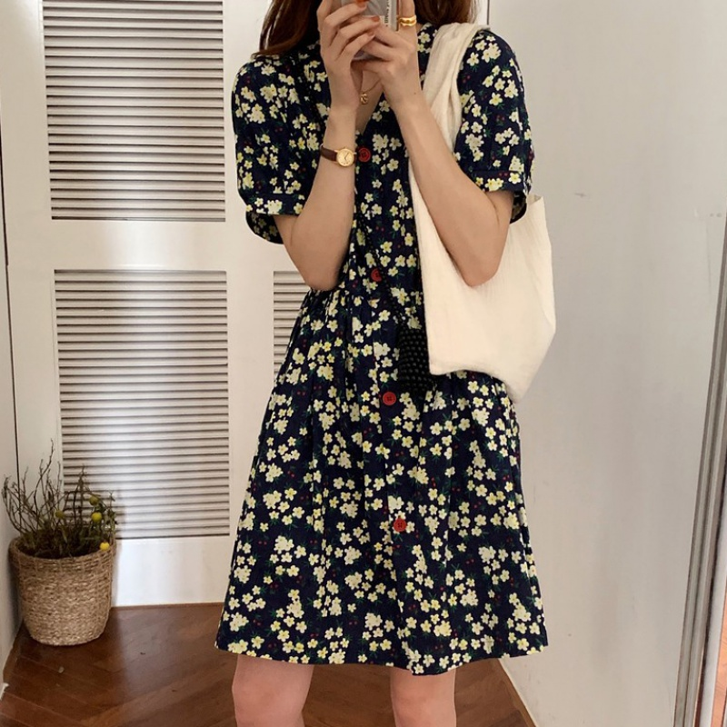 French style retro floral dress girl 2020 summer new slim temperament fairy super xiansen sweet skirt