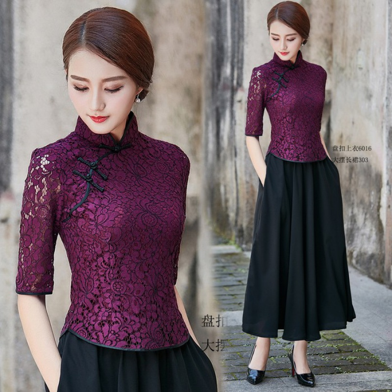 Short fashion improved cheongsam top lace spring and summer new slim Chinese buckle womens suit Tang dress