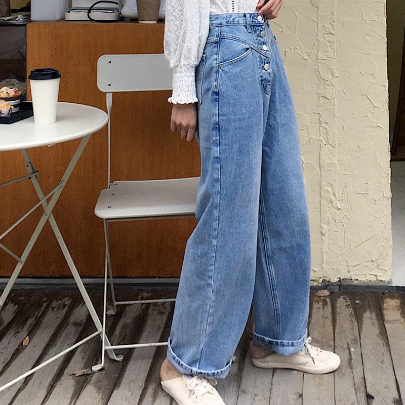 High waist straight tube jeans womens new spring 2020 Korean loose and elegant long pants casual dad wide leg pants