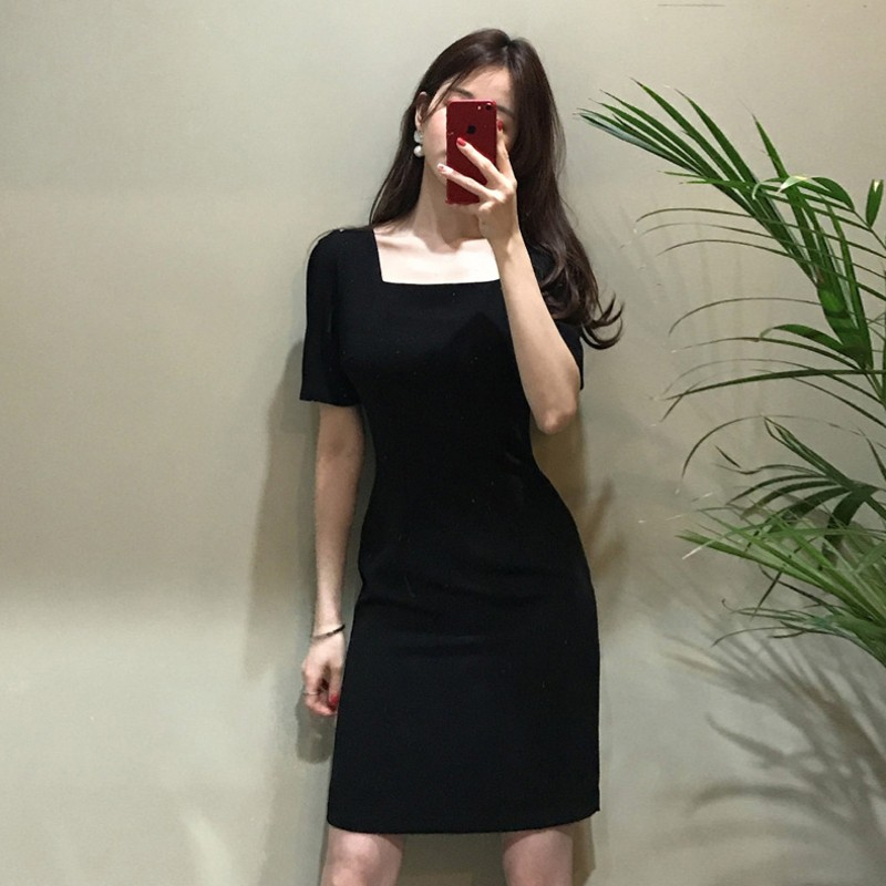 World weariness one character collar temperament sexy dress with waist closed to show thin French style retro heart Hepburn little black dress summer
