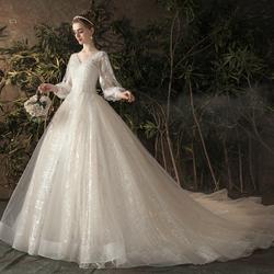 主婚纱女2020新款新娘拖尾孕妇高腰遮孕肚大码森系超仙梦幻轻气质