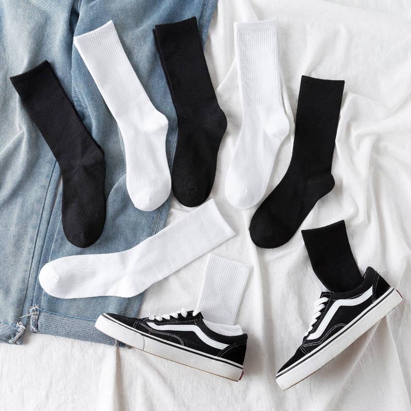 长袜子女中筒男袜ins潮韩堆堆夏季秋冬纯黑白色棉质长筒篮球袜男