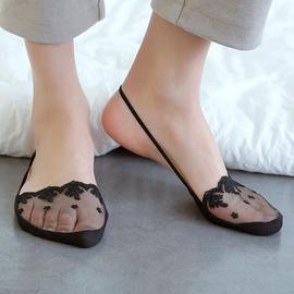 袜子女浅口夏季薄款前脚半掌隐形袜日韩系高跟鞋蕾丝花边吊带船袜图片
