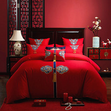 Four sets of big red cotton embroidered wedding bedding for weddings and 680 sets of pure cotton embroidered bedding for weddings