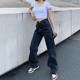 eu街拍女装复古街头风做旧大口袋牛仔裤女高腰直筒拖地阔腿裤长裤