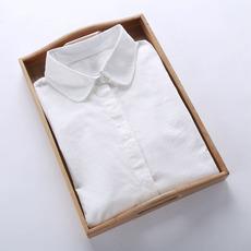 纯棉白色衬衫女长袖宽松打底衬衣职业春秋装韩版新款百搭学生圆领