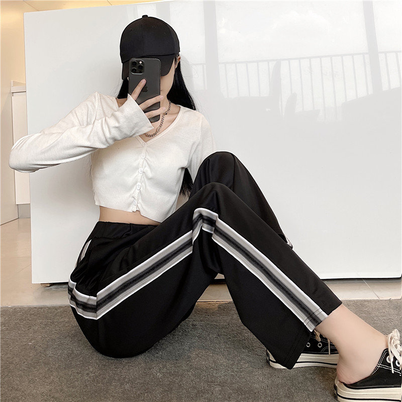 2021 commuter trousers Korean version student stripe webbing hanging feeling thin straight tube loose pants casual pants womens new