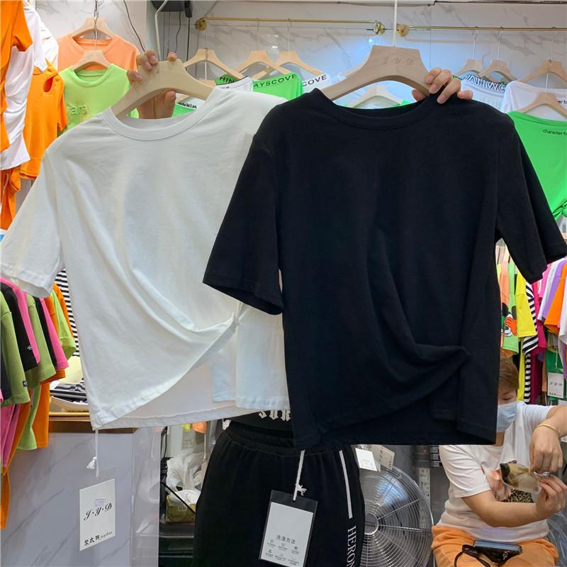 垫肩高腰露脐短款T恤衫2020夏休闲短袖不规则边带扭结纯棉上衣女