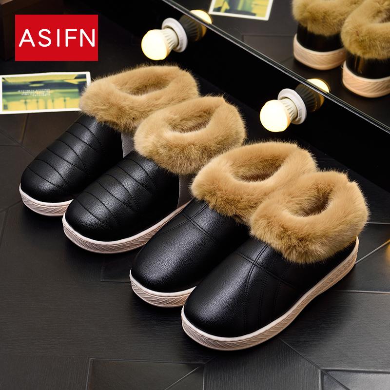 冬季情侣男女棉拖鞋包跟厚底
