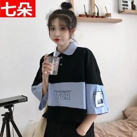 短袖T恤少女生夏装2021年新款初中高中学生polo衫韩版宽松上衣服