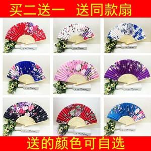 扇子折扇夏季女式中國風古風復古典折疊跳舞布便攜竹扇隨身小扇子