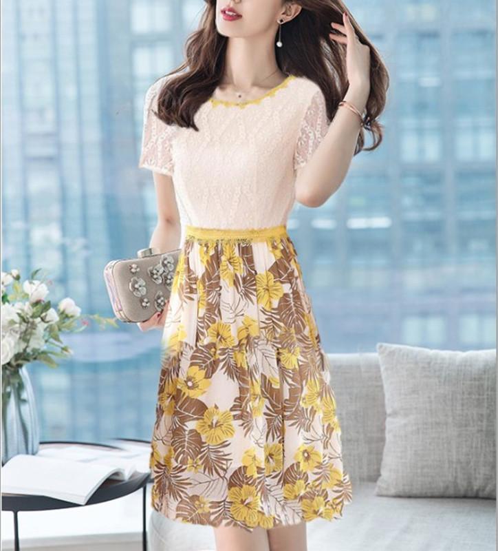 女装2019新款潮夏季很仙的女士连衣裙子拼接印花修身蕾丝连衣裙女