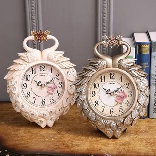 欧式孔雀静音时尚田园创意摆件座钟