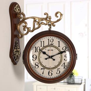 客厅静音双面挂钟 豪华装 复古红木色经典 欧式 饰美式 田园大气钟表