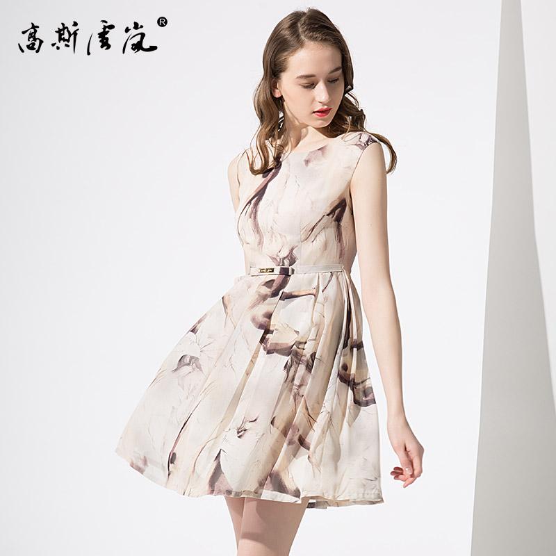 高斯雪岚女装  2018新款夏上衣春装 连衣裙中长款收腰裙子