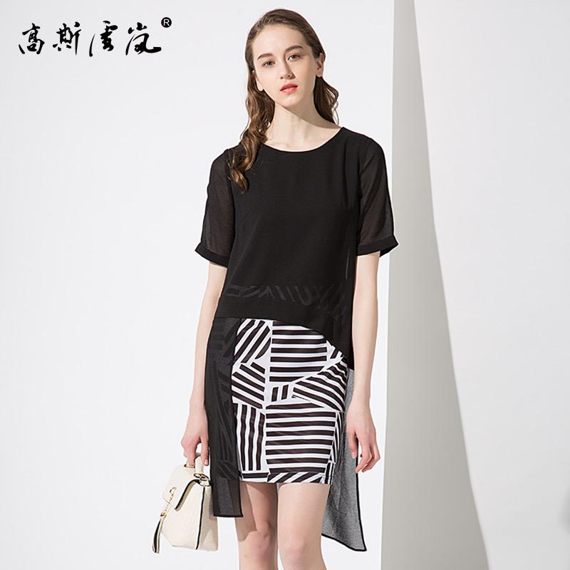 高斯雪岚女装  2018新款夏上衣春装 雪纺连衣裙女假两件套