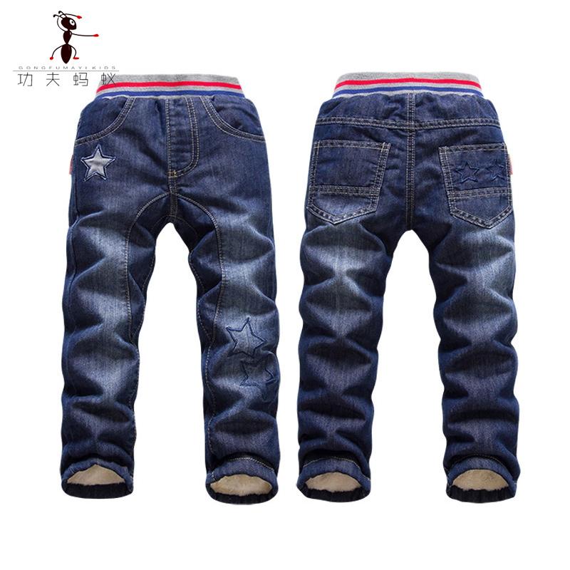 功夫螞蟻兒童加絨牛仔褲