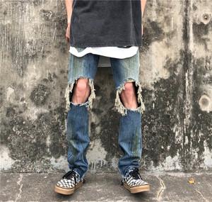 欧美高街侃爷同款水洗做旧泼墨泛黄膝盖破洞修身裤脚拉链牛仔裤男