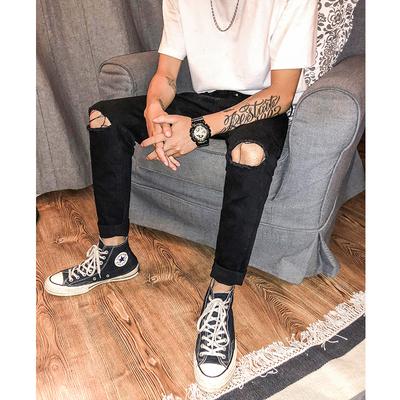 秋冬新款 黑色棉弹品质牛仔裤 韩版修身破洞小脚裤 TX67/特P55
