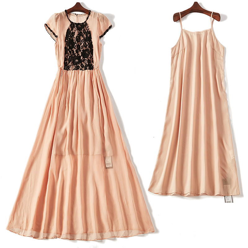 2020 summer new suspender Chiffon splicing lace dress two piece long skirt 52278 womens dress
