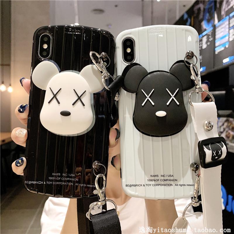 卡通小熊iphonexs max手机壳8plus/x带挂绳苹果xr/7plus/10-28新券