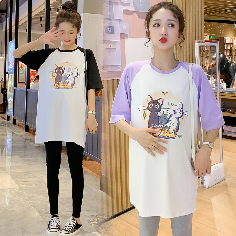 Pregnant womens net red suit fashion womens summer leisure T-shirt fashion mother out pregnant women two piece set