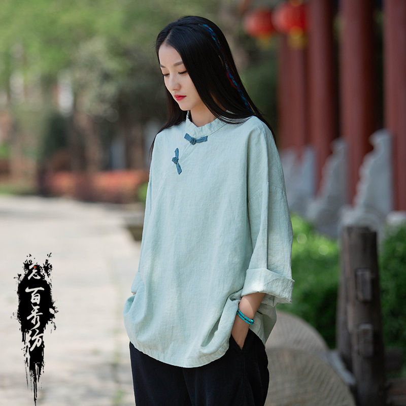 2021 early autumn new womens Linen sand washed Chinese style dish button top Mori literary loose and versatile shirt